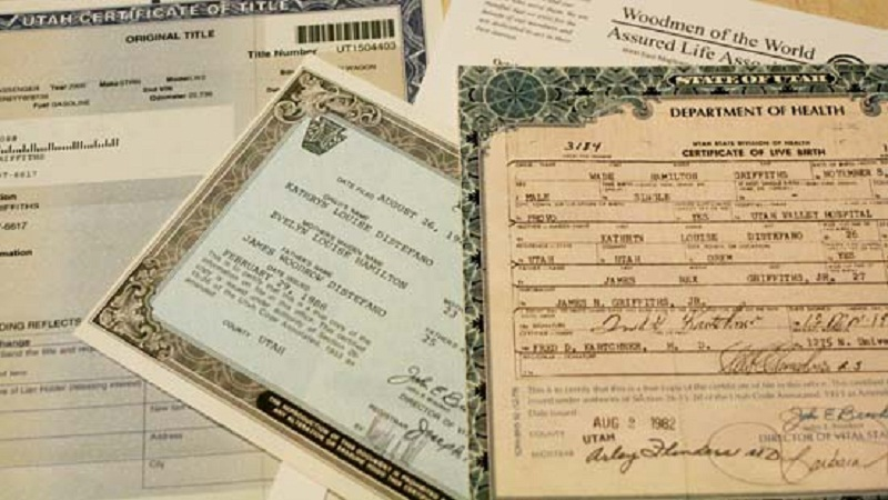 Copies of Important documents